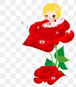 Valentines Cute Cupid And Rose PNG Clipart Picture - Valentine's Day Cupid Heart Clip Art PNG