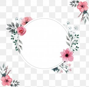 A Pink Border Of Water - Wedding Invitation Picture Frame PNG