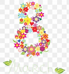 8 March Floral Text Decor Clipart - Flower Delivery Floristry Flower Bouquet PNG
