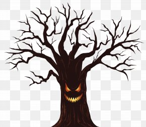 Halloween Spooky Tree Clipart Image - Halloween Card Wish Greeting Card PNG