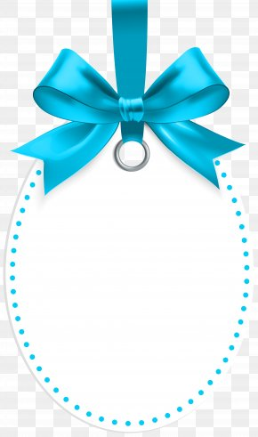 Label With Blue Bow Template Clip Art - Gift Clip Art PNG