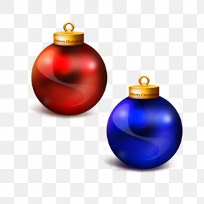 Red And Blue Christmas Balls - Christmas God Bless You Blessing Santa Claus Wallpaper PNG