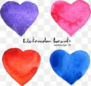 Vector Hand-painted Heart-shaped - Euclidean Vector Watercolor Painting Download PNG
