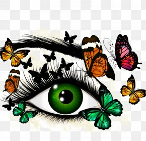 Hand-painted Eyes Vector Material - Eye Euclidean Vector Butterflies And Moths Green Illustration PNG