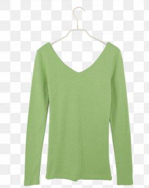 A Light Green T-shirt On A Hanger - Long-sleeved T-shirt Long-sleeved T-shirt Clothing Shorts PNG