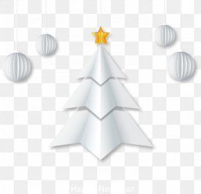 White Origami Christmas Tree Greeting Card Vector - Paper Christmas Tree White Christmas Christmas Card PNG