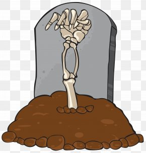 Gravestone Tomb And Skeleton Hand Clip Art Image - Headstone Clip Art PNG