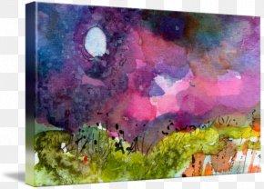 Moon Landscape - Watercolor Painting Acrylic Paint Art PNG