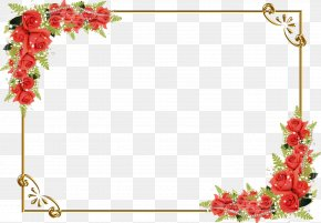 Red Rose Border - Drawing Flower Clip Art PNG