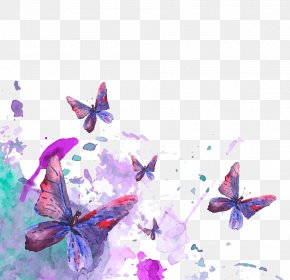 Color Ink Butterfly High-definition Deduction Material - Butterfly Watercolor Painting Stock Illustration PNG