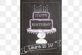 Chalk Board - Birthday Cake Blackboard Holiday Greeting & Note Cards PNG