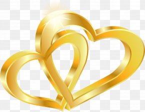Vector Gold Double Heart - Wedding Invitation Wedding Anniversary Gold PNG