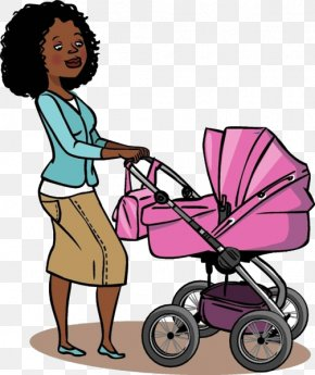 Cartoon Mother Push Baby Carriage - Baby Transport Mother Infant Illustration PNG