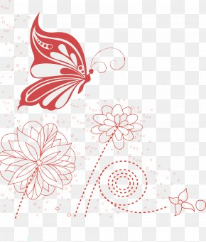 Hand-painted Floral Decoration Lines - Butterfly Net Drawing PNG