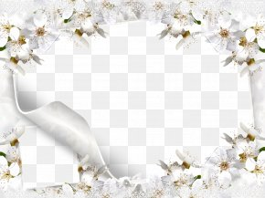 White Flower Frame Picture - Wedding Microsoft PowerPoint Wallpaper PNG