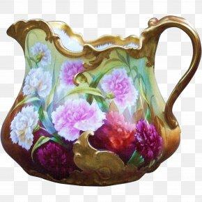 Carnations Hand Painted - Jug Vase Porcelain Pottery Pitcher PNG