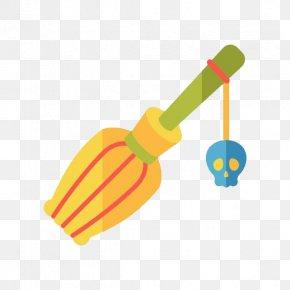 Cartoon Magic Broom And Skull - Broom Magic Clip Art PNG