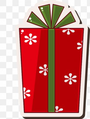Gift Boxes Painted Red Snowflake Pattern - Santa Claus Gift Christmas Drawing PNG