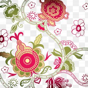 Motif - Floral Design Batik Pattern Clip Art Vignette PNG