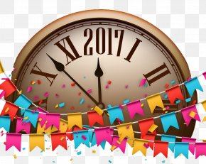 2017 Clock Ribbons - New Years Day Illustration PNG