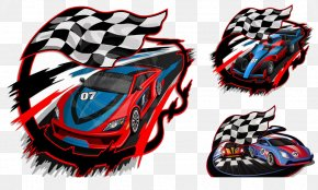 Black And White Checkered Flag Racing With Creative Design - Auto Racing Racing Flags Racing Helmet PNG