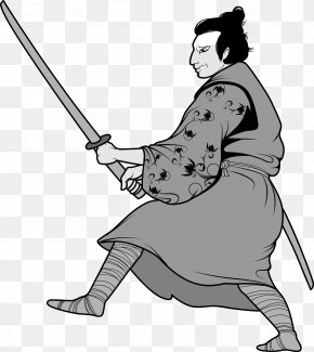Japanese Ninja Bodyguard Warrior Black And White Picture - Black And White Samurai Ninja Clip Art PNG