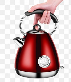 Portable Red Electric Kettle - Electric Kettle Electric Heating Kitchen Stove PNG