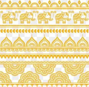 Thai Elephant Retro Pattern Vector Material - Henna Mehndi Tattoo Illustration PNG