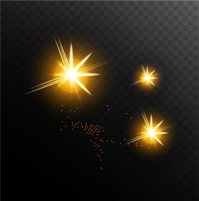 Golden Shine Light Effect Vector - Light Euclidean Vector PNG