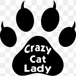 Black And White Crazy Cat Footprints - Cat Kitten Dog Paw Clip Art PNG