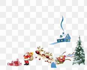 Santa Claus Christmas Carriage - Santa Claus Christmas Poster PNG