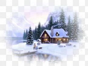 Fantasy Winter Background - Desktop Wallpaper Log Cabin Painting Wallpaper PNG
