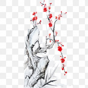 Plum Flower - Calligraphy Coq De Feu Ink Wash Painting PNG