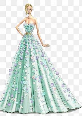 Beautiful Hand-painted Flowers Dress - Fashion Illustration Haute Couture Designer Illustration PNG