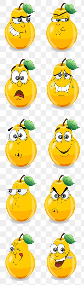 Cartoon Pears Expression Vector Material - Cartoon Pear Facial Expression Drawing PNG