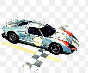 Watercolor Sports Car Illustration - Sports Car Watercolor Painting Illustration PNG