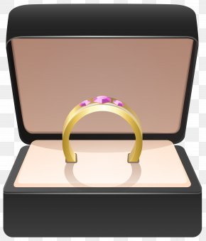 Gold Ring In Box Clip Art Image - Earring Jewellery Box Clip Art PNG