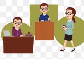 Vector Elements In The Teacher In The Class Teacher - Teacher Cartoon Education School PNG