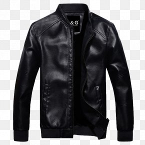 Black Leather Jacket - Leather Jacket Coat Slim-fit Pants PNG