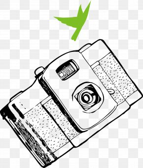 Hand Drawn Black And White Camera Vector - Camera Black And White Photography PNG