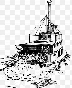Drawings Clipart - Steamboat Riverboat Paddle Steamer Ship PNG