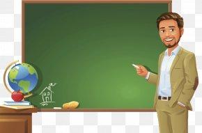 Teacher Standing On The Podium - Teacher Blackboard Student Clip Art PNG