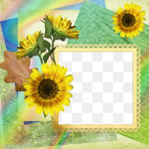 Sunflower Frame Background - Picture Frame Flower PNG