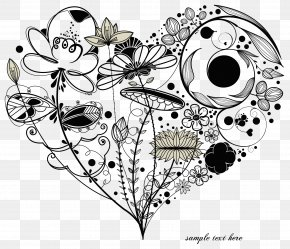 Black Heart-shaped Floral Pattern Vector - Heart Love Romance Drawing PNG