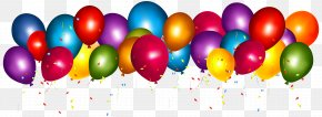 Transparent Colorful Balloons With Confetti Clipar Image - Balloon Confetti Party Gift Birthday PNG
