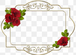 Red Rose Metal Frame - Picture Frame Digital Photo Frame Flower Clip Art PNG