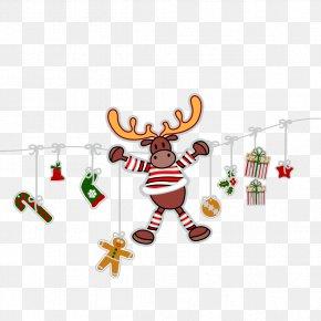 Vector Christmas Gift Box Socks Deer - Reindeer Christmas Clip Art PNG