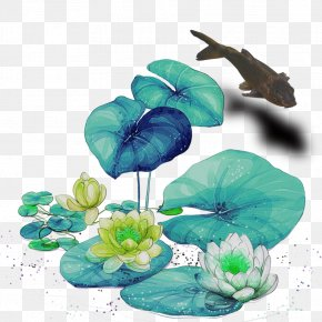 Cartoon Hand-painted Flowers - Butterfly Nelumbo Nucifera Cartoon Water Lilies PNG