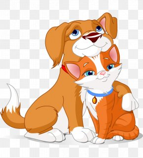Hand-painted Cartoon Cat And Dog Hug - Dog–cat Relationship Dog–cat Relationship Clip Art PNG