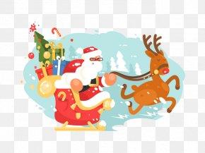 Santa's Sleigh - Santa Clauss Reindeer Santa Clauss Reindeer Christmas Sled PNG